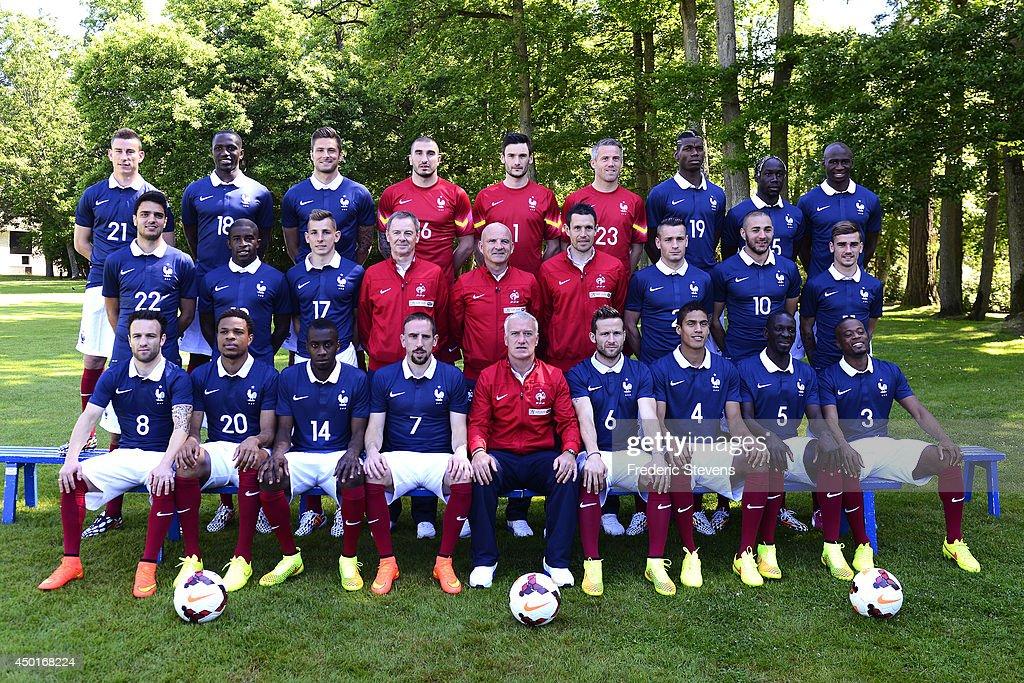 France's national football team players defender Laurent Koscielny midfielder Moussa Sissoko forward Olivier Giroud goalkeepers Stephane Ruffier Hugo...