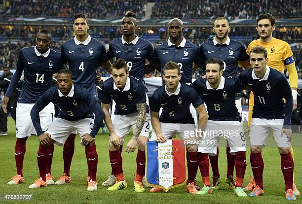 France's national football team players midfielder Blaise Matuidi defender Raphael Varane midfielder Paul Pogba midfielder Eliaquim Mangala forward...