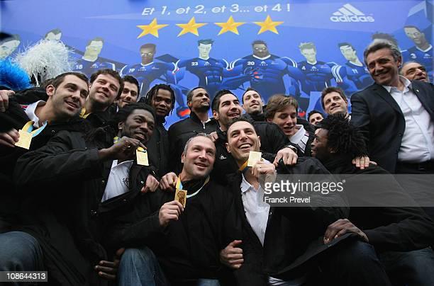 France's national handball team Thierry Omeyer Jerome Fernandez Team Capitain Daouda Karaboué Nicolas Karabatic Xavier Barachet Arnaud Bingo and...