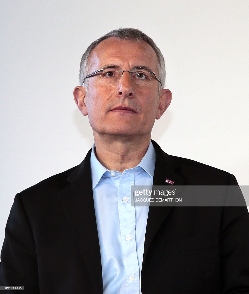 France's national rail company SNCF head, Guillaume Pepy, is pictured during the presentation to the press of the new low-cost TGV high-speed train 'Ouigo' at the Marne-La-Vallee railway station ouside Paris on February 19, 2013. France's state rail firm SNCF opened its online booking service for its new budget train service 'Ouigo' on February 19 inspired by the budget airline model. The train will start transporting its first passengers from April 2, with the Ouigo service operating from Marne-la-Vallée near Disneyland Paris, Lyon-Saint-Exupéry airport, Marseilles and Montpellier.