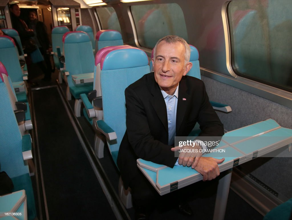 France's national rail company SNCF head, Guillaume Pepy, poses inside of the new low-cost TGV high-speed train 'Ouigo' at the Marne-La-Vallee railway station ouside Paris on February 19, 2013, during its presentation to the press. France's state rail firm SNCF opened its online booking service for its new budget train service 'Ouigo' on February 19 inspired by the budget airline model. The train will start transporting its first passengers from April 2, with the Ouigo service operating from Marne-la-Vallée near Disneyland Paris, Lyon-Saint-Exupéry airport, Marseilles and Montpellier. AFP PHOTO/JACQUES DEMARTHON