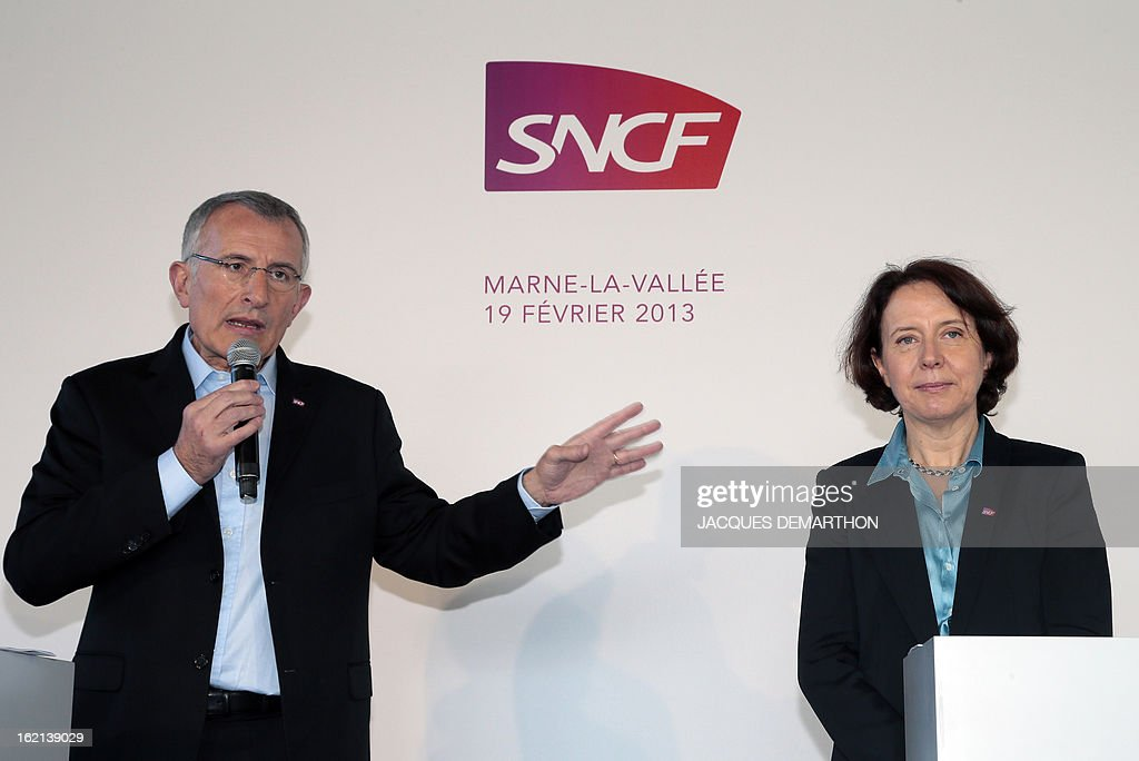 France's national rail company SNCF head, Guillaume Pepy (L) speaks next to 'SNCF Voyages' director Barbara Dalibard (R), during the presentation to the press of the new low-cost TGV high-speed train 'Ouigo' at the Marne-La-Vallee railway station ouside Paris on February 19, 2013. France's state rail firm SNCF opened its online booking service for its new budget train service 'Ouigo' on February 19 inspired by the budget airline model. The train will start transporting its first passengers from April 2, with the Ouigo service operating from Marne-la-Vallée near Disneyland Paris, Lyon-Saint-Exupéry airport, Marseilles and Montpellier.