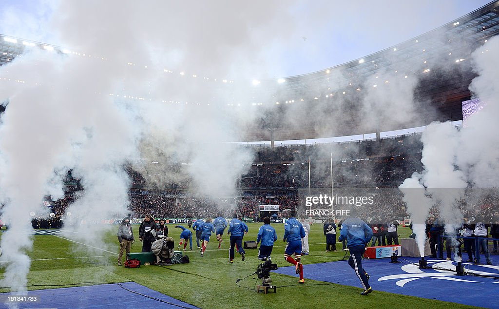 France's national rugby team enter the field before the Six Nations Rugby Union match between France and Wales at the Stade de France on February 9, 2013 in Saint-Denis, near Paris.