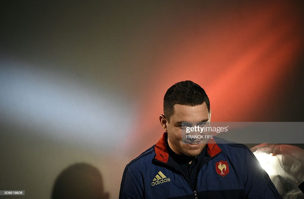 France's national rugby union team captain Guilhem Guirado answers journalists' questions in Marcoussis, south of Paris, on February 11, 2016, during a press conference to announce the team members selected for France's Six Nations rugby match against Ireland in Paris on February 13. / AFP / FRANCK FIFE