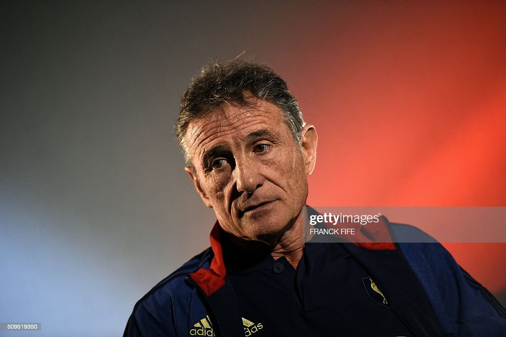 France's national rugby union team head coach Guy Noves answers journalists' questions in Marcoussis, south of Paris, on February 11, 2016, during a press conference to announce the team members selected for France's Six Nations rugby match against Ireland in Paris on February 13. / AFP / FRANCK FIFE