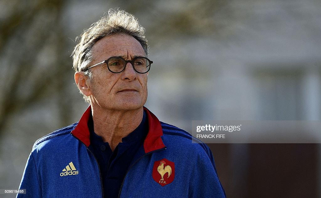 France's national rugby union team head coach Guy Noves arrives for a press conference in Marcoussis, south of Paris, on February 11, 2016, to announce the team members selected for France's Six Nations rugby match against Ireland in Paris on February 13. / AFP / FRANCK FIFE
