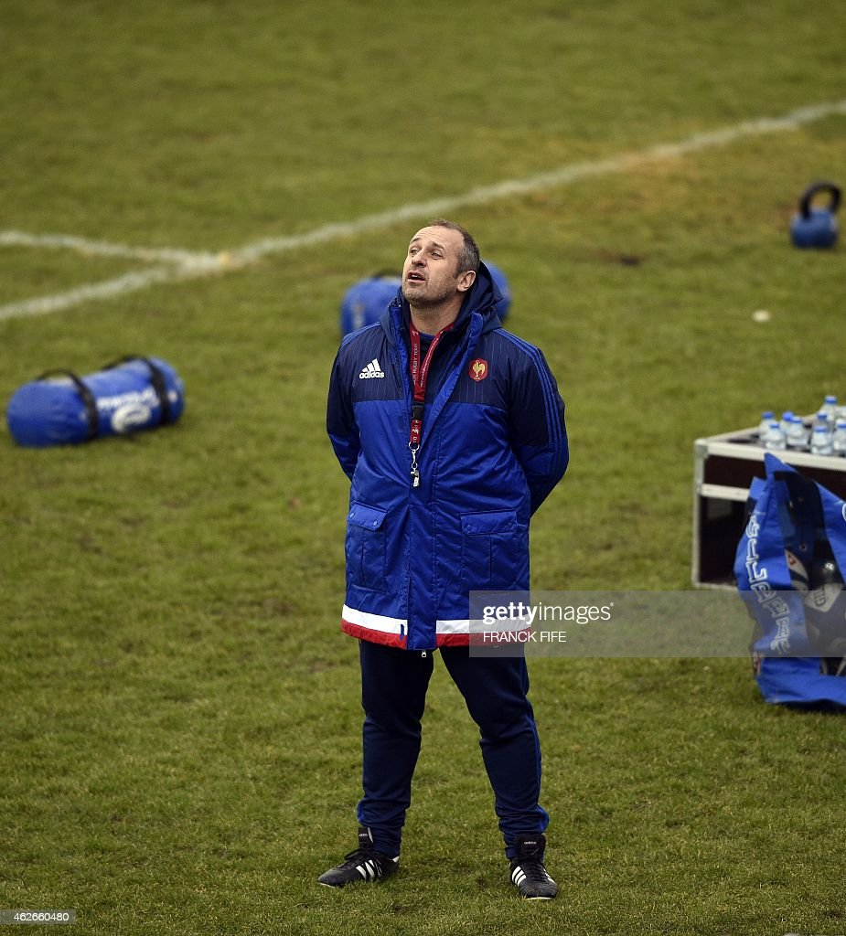France's national rugby union team head coach Philippe Saint Andre reacts during a training session in Marcoussis, south of Paris, on February 2, 2015, as part of the preparations for the Six Nations rugby tournament. France will play Scotland during a 2015 Six Nations' rugby match in Paris on February 7, 2015.