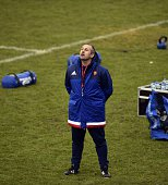 France's national rugby union team head coach Philippe Saint Andre reacts during a training session in Marcoussis south of Paris on February 2 as...