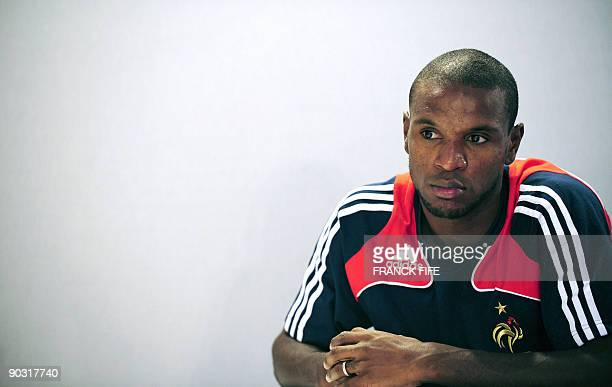France's national soccer team defender Eric Abidal attends a press conference on September 3 2009 at the team's training camp in Clairefontaine near...