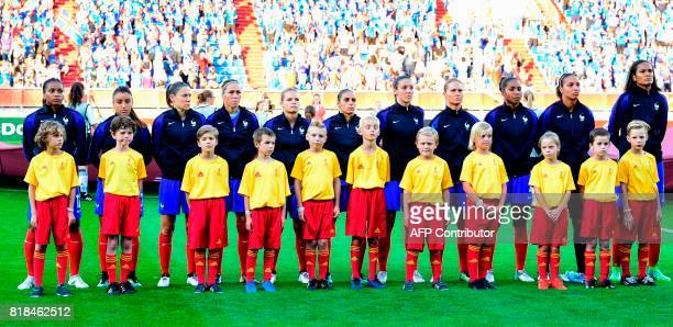 France's national soccer team players Elodie Thomis Sakina Karchaoui Elise Bussaglia Camille Abily Eugenie Le Sommer Jessica HouaraDHommeaux Clarisse...