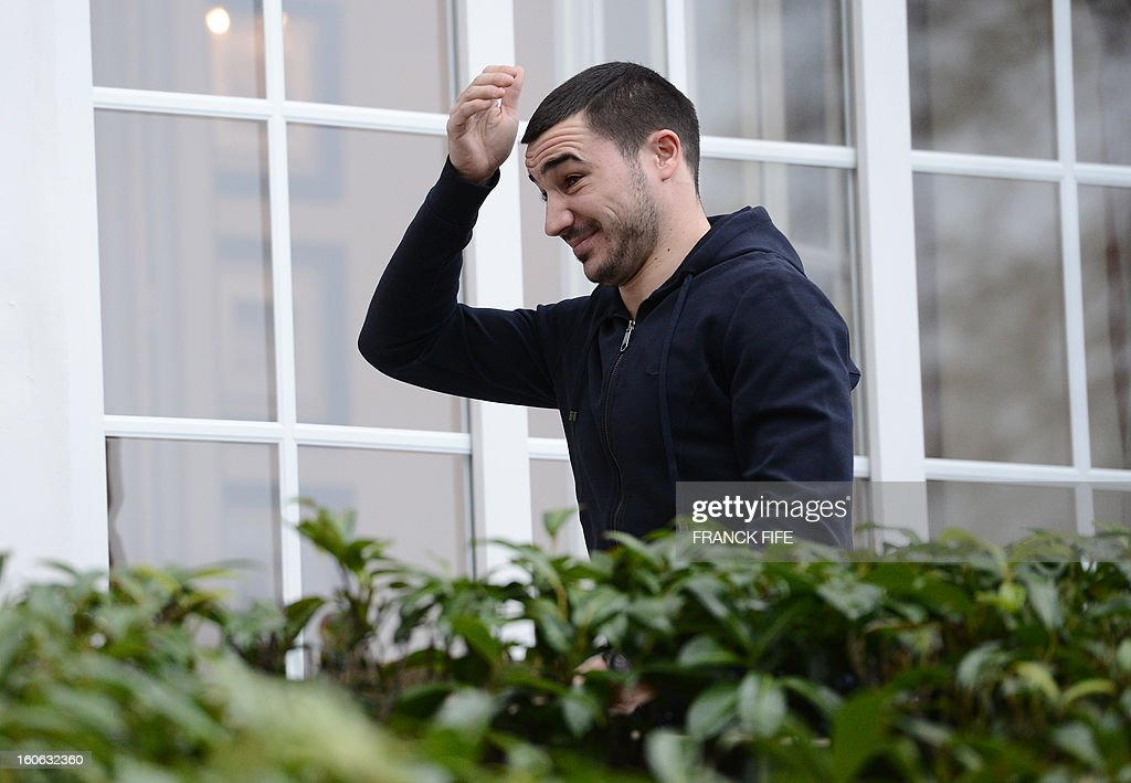 France's national team forward Romain Alessandrini arrives at the French national football team centre in Clairefontaine-en-Yvelines, outside Paris, on February 4, 2013, for a training session ahead of a friendly football match against Germany to be held on February 6.