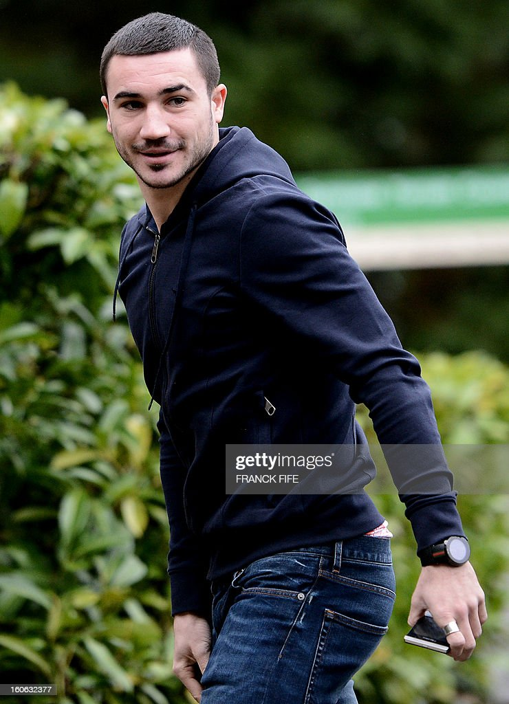 France's national team forward Romain Alessandrini arrives at the French national football team centre in Clairefontaine-en-Yvelines, outside Paris, on February 4, 2013, for a training session ahead of a friendly football match against Germany to be held on February 6. AFP PHOTO / FRANCK FIFE