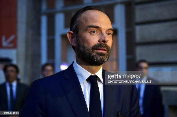 France's newly appointed Prime Minister Edouard Philippe is pictured during his first official visit at the Police Prefecture of Paris on May 15 2017...
