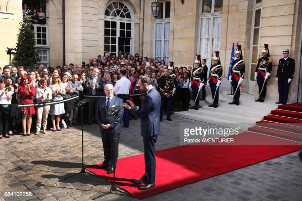 France's newlyappointed Prime Minister Edouard Philippe attends an official handover ceremony with outgoing Prime Minister Bernard Cazeneuve at the...