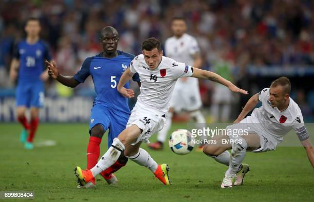 France's N'Golo Kante and Albania's Taulant Xhaka battle for the ball
