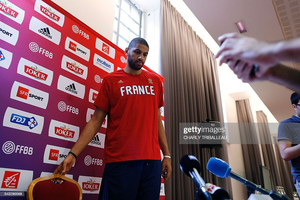 France's Nicolas Batum arrives for a press conference on June 27, 2016 in Rouen, northwestern France a day before the basketball match between France and Japan. / AFP / CHARLY