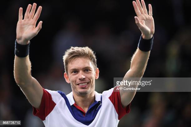 France's Nicolas Mahut celebrates winning against Spain's Pablo Carreno Busta after their first round match at the ATP World Tour Masters 1000 indoor...