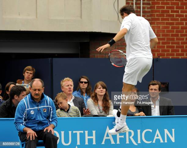 France's Nicolas Mahut overshoots the court during his win over Croatia's Marin Cilic during day three of the AEGON Championships at The Queen's Club...