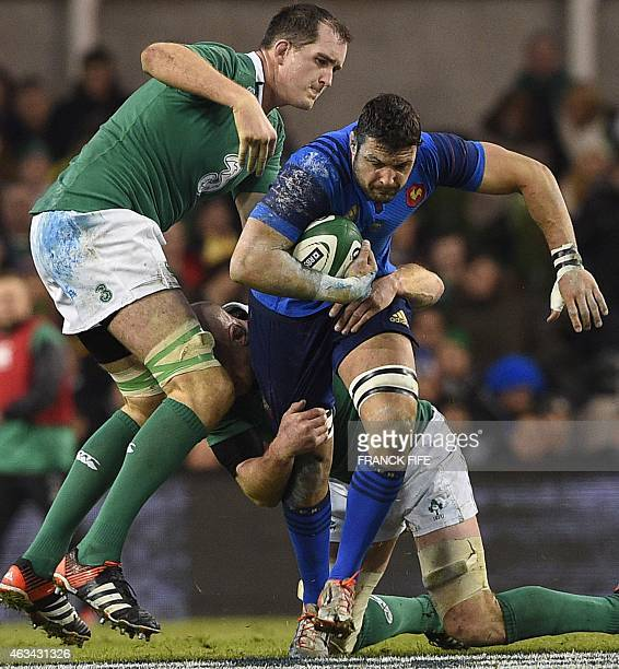 France's number 8 Damien Chouly battles agains the Irish defence during the Six Nations international rugby union match between Ireland and France at...