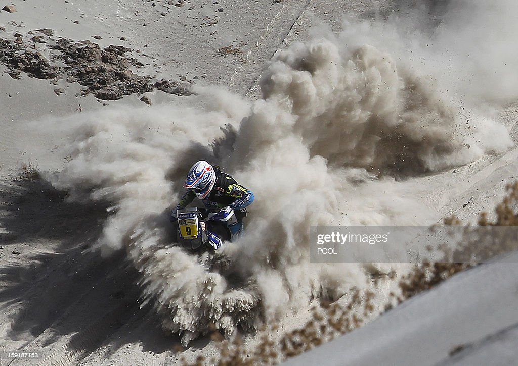 France's Olivier Pain competes during Stage 5 of the Dakar Rally 2013 between Arequipa and Arica, Chile, on January 9, 2013. The rally will take place in Peru, Argentina and Chile from January 5 to 20.