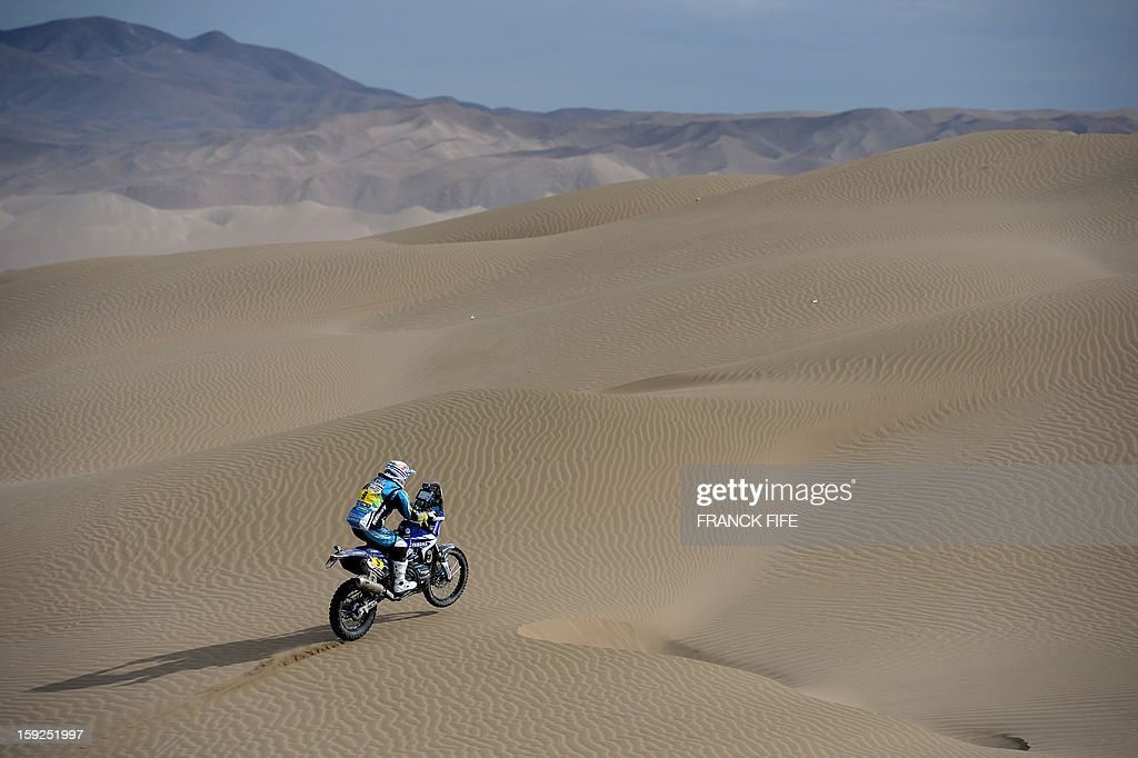France's Olivier Pain competes in the Stage 6 of the 2013 Dakar Rally between Arica and Calama, Chile, on January 10, 2013. The rally is taking place in Peru, Argentina and Chile from January 5 to 20. AFP PHOTO / FRANCK FIFE