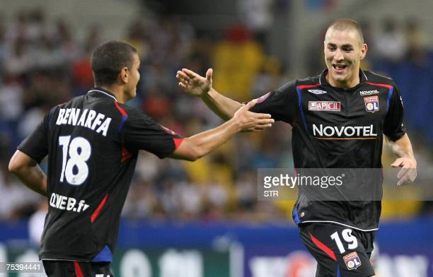 France's Olympique Lyonnais's Karim Benzema celebrates with Hatem Ben Arfa after benzema scored a goal during the Peace Cup Korea football tournament...