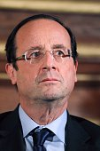 France's opposition Socialist Party candidate for the 2012 French presidential election Francois Hollande attends a meeting focused on AIDS on...