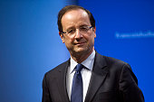 France's opposition Socialist Party candidate for the 2012 French presidential election Francois Hollande attends a joint press conference with...