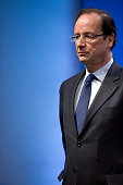 France's opposition Socialist Party candidate for the 2012 French presidential election Francois Hollande attends a joint press conference with the...