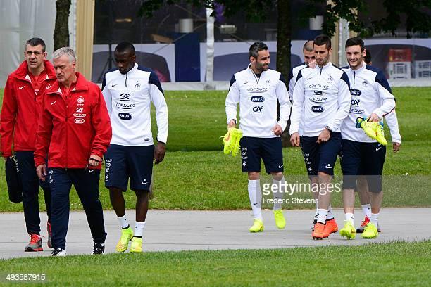 France's osteopath Jean Yves Vandewalle head coach Didier Deschamps midfielder Blaise Matuidi midfielder Loic Perrin goalkeeper Stephane Ruffier...