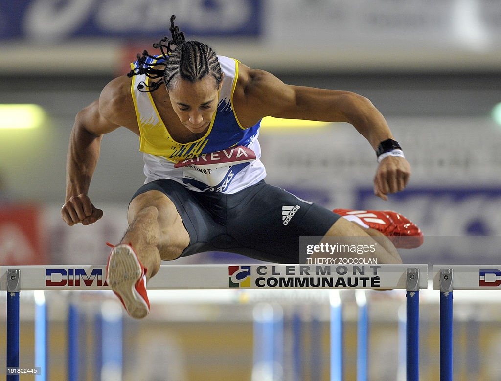 France's Pascal Martineot Lagarde competes in the men's 60m hurdles contest at the 2013 French Indoor Athletics championships on February 16, 2013 in Aubiere, central France. ZOCCOLAN