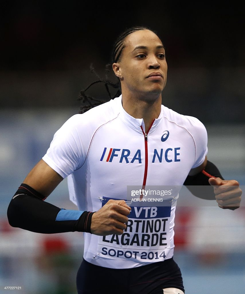 France's <a gi-track='captionPersonalityLinkClicked' href=/galleries/search?phrase=Pascal+Martinot-Lagarde&family=editorial&specificpeople=7114926 ng-click='$event.stopPropagation()'>Pascal Martinot-Lagarde</a> reacts after men's 60 metres hurdles heat 1 at the IAAF World Indoor Athletics Championships in the Ergo Arena in the Polish coastal town of Sopot, on March 8, 2014.
