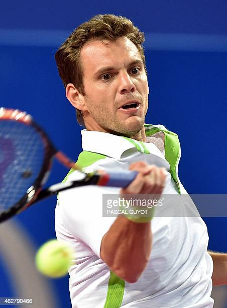 France's PaulHenri Mathieu returns the ball to Germany's Philipp Kohlschreiber during their tennis match at the Open Sud de France ATP world tour on...