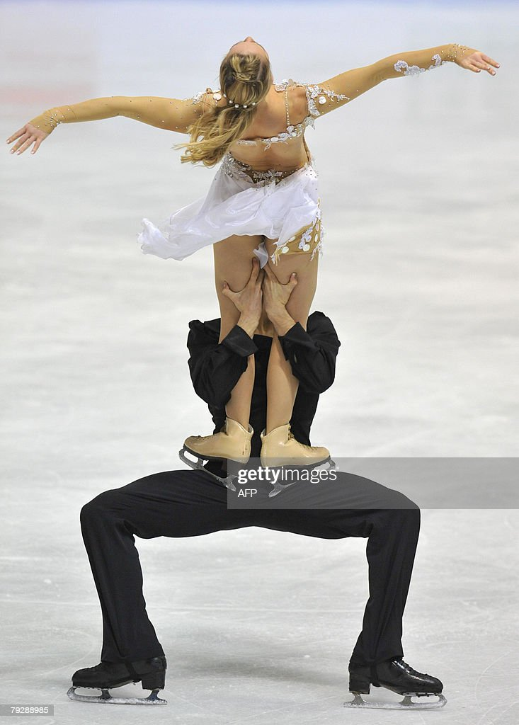 France's Pernelle Carron and Mathieu Jost perform their free dance at the Dom Sportova Arena in Zagreb 25 January 2008 during the European Figure...
