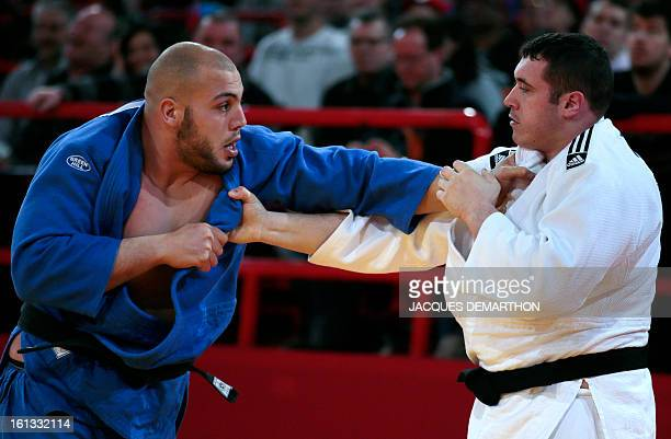 France's Pierre Alexandre Robin fights against Tunisia's Faicel Jaballah on February 10 2013 in Paris during the eliminatories of the Men 100kg of...