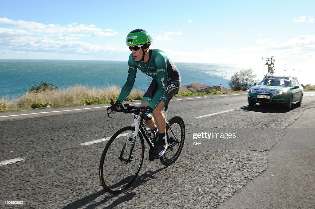France's Pierre Rolland competes during the second stage, a 24km individual time trial, of the 40th edition of the Tour Mediterraneen cycling race from Cap d'Agde to Sete on February 7, 2013 in Sete, southern France. Netherland's Lars Boom won the stage and leads the race. AFP PHOTO / SYLVAIN THOMAS