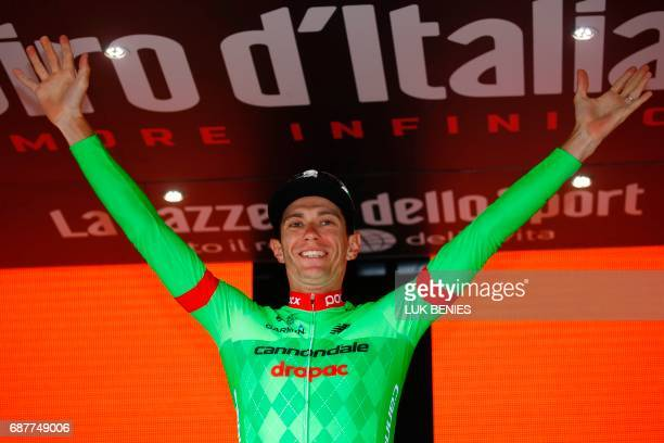 France's Pierre Rolland of team CannondaleDrapac celebrates on the podium after winning the 17th stage of the 100th Giro d'Italia Tour of Italy...