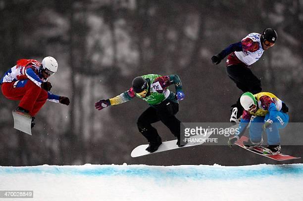 France's Pierre Vaultier Australia's Jarryd Hughes Czech Republic's Emil Novak and Austria's Hanno Douschan compete in Heat 6 the Men's Snowboard...