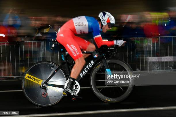 France's PierreRoger Latour competes during a 14 km individual timetrial the first stage of the 104th edition of the Tour de France cycling race on...