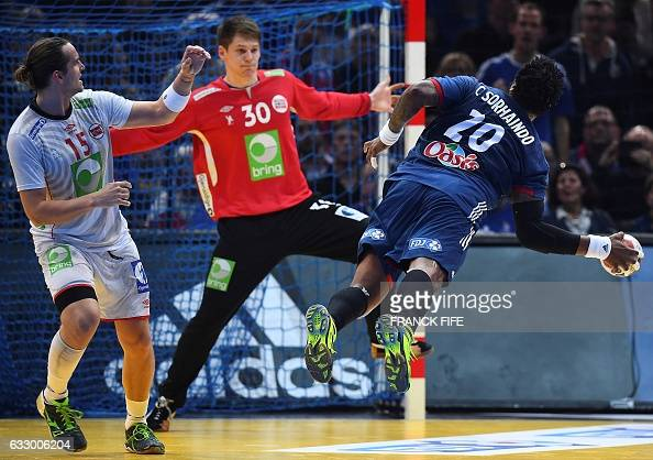TOPSHOT France's pivot Cedric Sorhaindo jumps to shoot on goal against Norway's goalkeeper Torbjorn Bergerud during the 25th IHF Men's World...