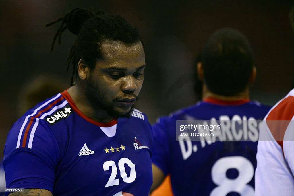 France's pivot Cedric Sorhaindo reacts at the end of the 23rd Men's Handball World Championships quarterfinal match France vs Croatia at the Pabellon...