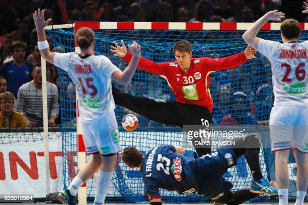 TOPSHOT France's pivot Ludovic Fabregas scores a goal as Norway's goalkeeper Torbjorn Bergerud stretches out during the 25th IHF Men's World...