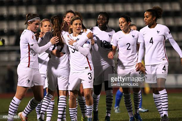 France's players celebrate after scoring during the women's Euro 2017 qualifying football match between Greece and France at the stadium of Katerini...