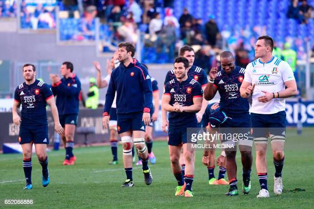 France's players celebrate after winning 1840 the International Six Nations rugby union match Italy vs France on March 11 2017 at the Olympic Stadium...