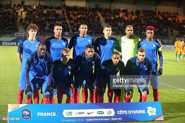 France's players defender Benjamin Pavard midfielder JeanPhilippe Gbamin forward Sebastien Haller defender Lucas Hernandez goalkeeper Mike Maignan...