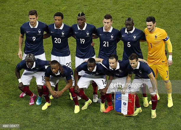 France's players pose for an official picture before the international friendly football match France vs Paraguay on June 01 2014 at the 'Allianz...