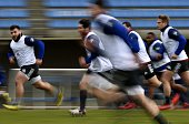 TOPSHOT Frances players run during a training session in Marcoussis south of Paris on February 9 ahead of the Six Nations international rugby union...