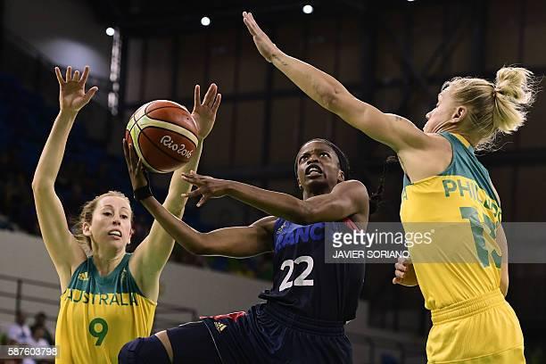 TOPSHOT France's point guard Olivia Epoupa jumps for a basket between Australia's forward Natalie Burton and Australia's shooting guard Erin Phillips...
