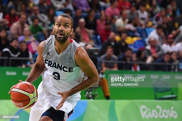 TOPSHOT France's point guard Tony Parker runs for the basket during a Men's round Group A basketball match between France and Venezuela at the...