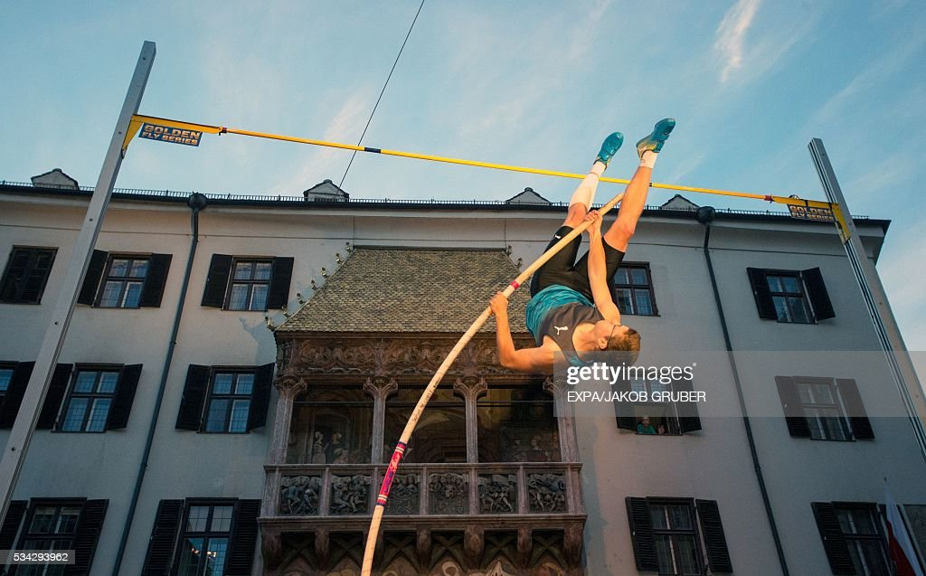 France's pole vaulter Axel Chapelle competes during the Golden Roof Challenge on May 25, 2016, in front of the Golden Roof in Innsbruck. / AFP / APA / EXPA/JAKOB GRUBER / Austria OUT